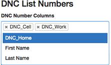 図は、csvファイルの列のリストから電話番号の列を選択する方法を示しています。