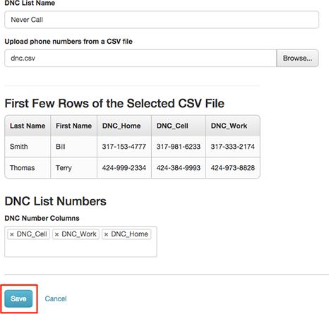 図は、保存する準備ができた完成したDNCエントリを示しています。