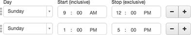 図は、ダイヤル営業時間中が昼休みにない時間のショットを表示しています。