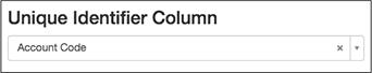 図では、リストの一意の識別子として選択したアカウント番号列を示しています。