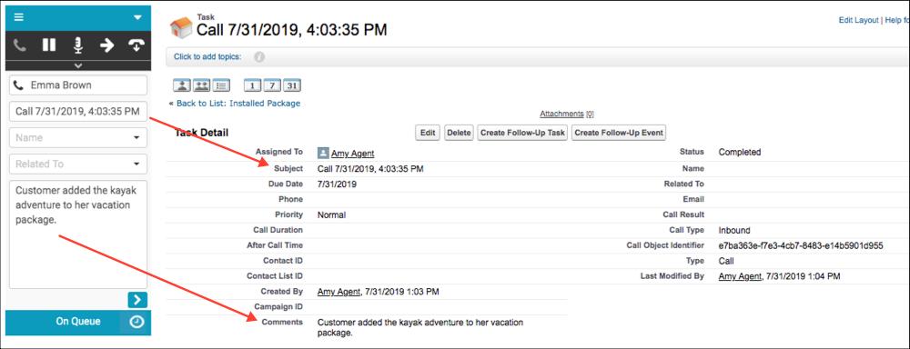 Salesforceアクティビティに同期された対話ログ情報