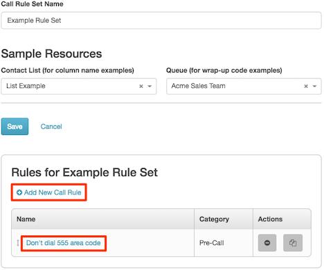 ルール セットのサンプルが、編集のために開いていることを示す図