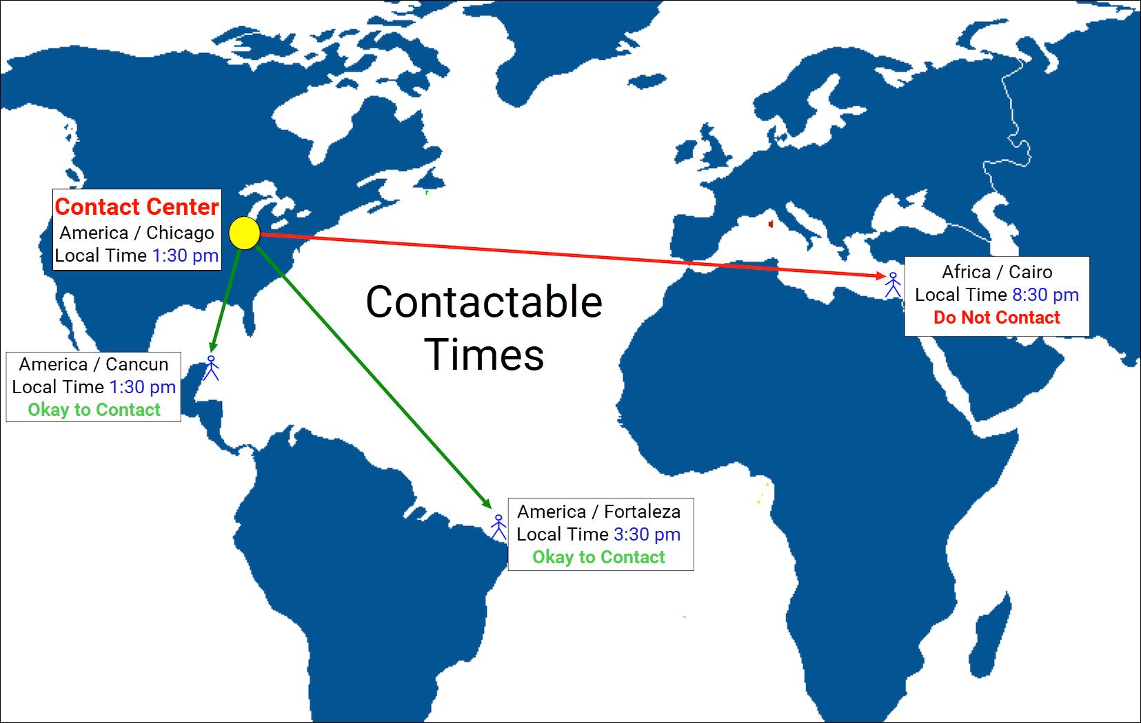 図は、コール可能な時間の世界地図を示しています