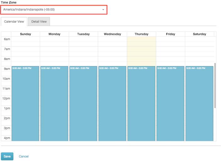 図は、新しいタイムゾーンが定義されると表示される画面を示しています