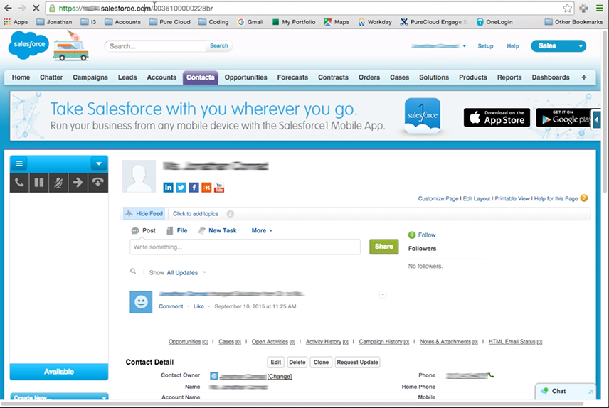 Salesforce crmのスクリーンポップを示す図