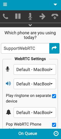 WebRTC設定ウィンドウ