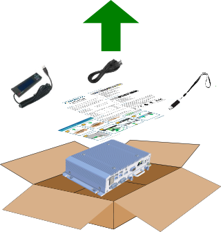 Edge MiniまたはEdge Microアプライアンスの箱を開ける方法を示す図