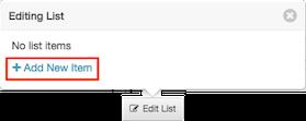 図は、リスト項目が追加されていない、 デフォルト状態の編集リストポップオーバーを示しています。