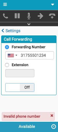 電話番号への着信転送に関するエラーメッセージ