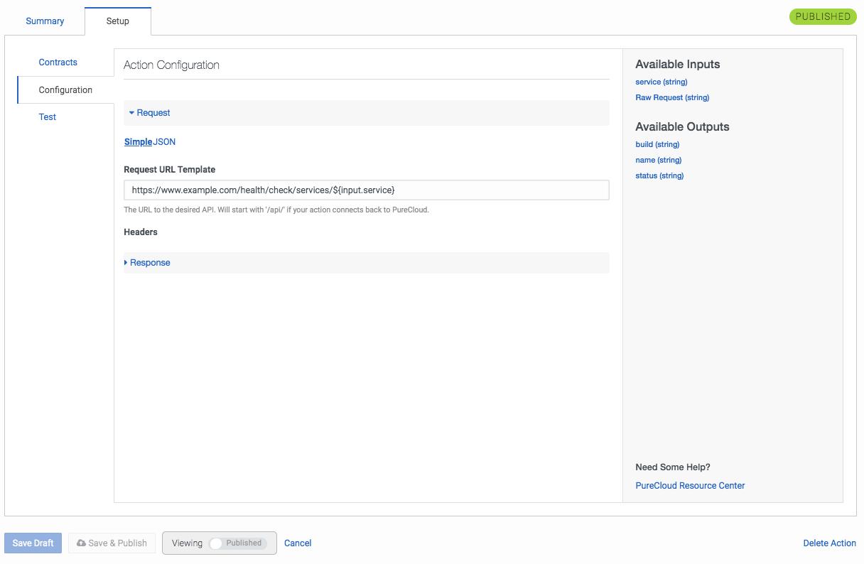 PureCloud のアクション設定タブ設定画面の管理
