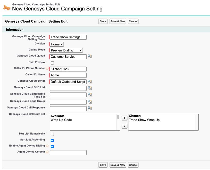 SalesforceでのGenesys Cloudキャンペーン設定