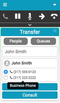 個人用の複数の番号を持つ転送ウィンドウ