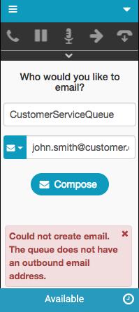 送信メールアドレスがないキューに関するエラーメッセージ