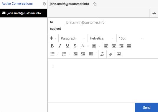 電子メールインタラクションを含むインタラクションウィンドウ
