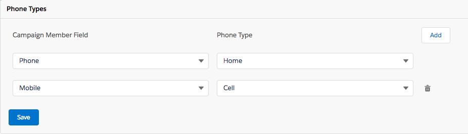 電話番号フィールドと電話の種類を選択します