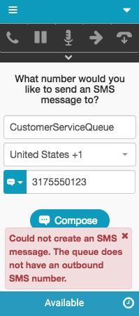 送信SMS番号がないキューに関するエラーメッセージ