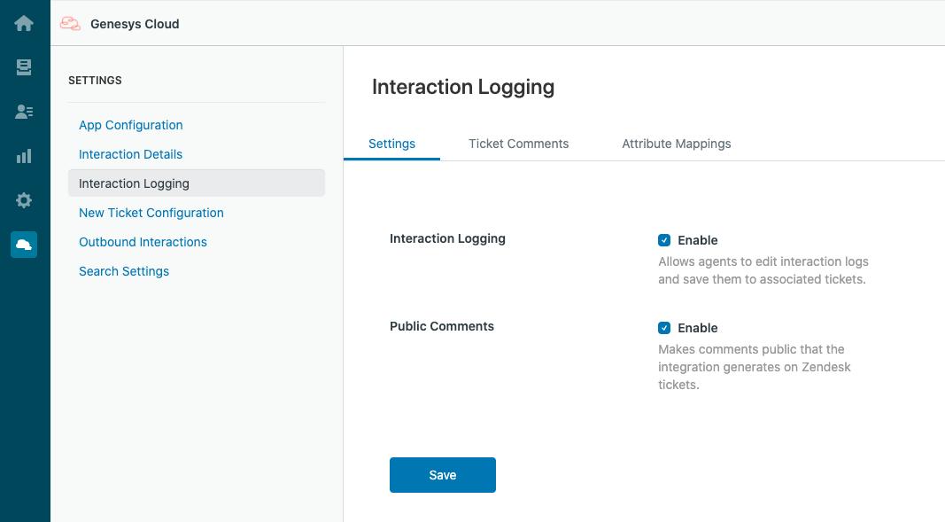 PureCloud for Zendeskインタラクションロギングの設定