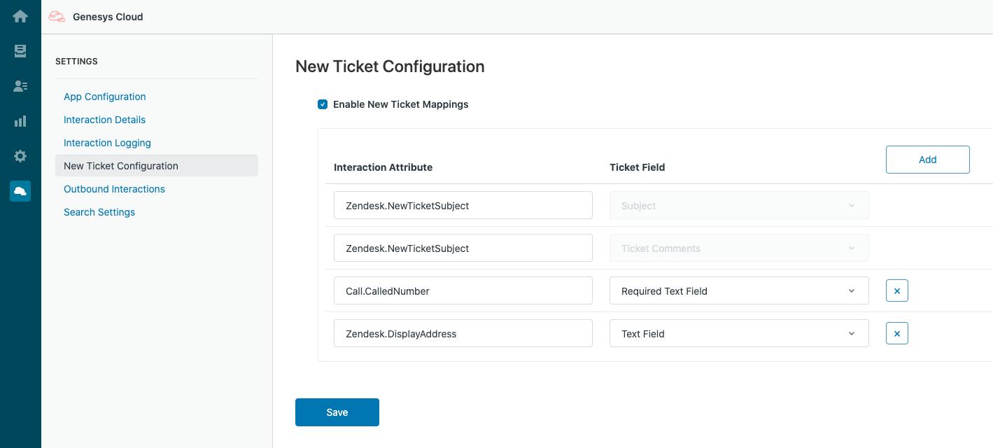 Zendeskの新しいチケットにマッピングされたインタラクション属性