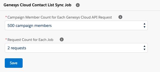 Genesys Cloud Contact List Sync Jobセクション(Salesforceのキャンペーン管理)